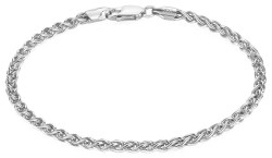 2.7mm Solid .925 Sterling Silver Braided Wheat Chain Bracelet