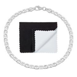 3.5mm Solid .925 Sterling Silver Flat Mariner Chain Bracelet
