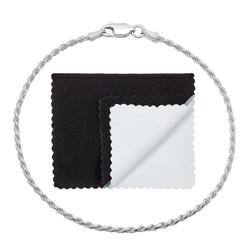 2mm .925 Sterling Silver Diamond-Cut Twisted Rope Chain Bracelet
