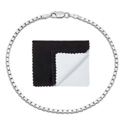 2.3mm Solid .925 Sterling Silver Square Box Chain Bracelet