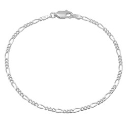 2.3mm Solid .925 Sterling Silver Flat Figaro Chain Link Bracelet