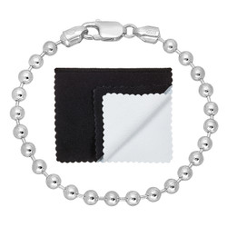 5mm Solid .925 Sterling Silver Ball Military Ball Chain Bracelet + Gift Box