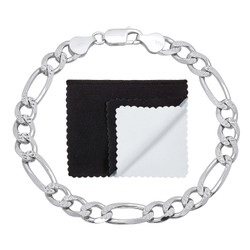 7mm .925 Sterling Silver Diamond-Cut Flat Figaro Chain Bracelet + Gift Box