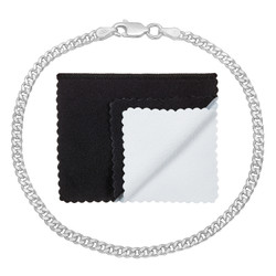 3mm Solid .925 Sterling Silver Flat Curb Chain Bracelet + Gift Box
