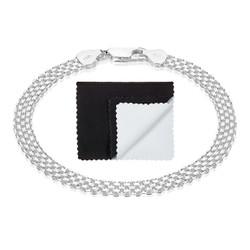 5.3mm Solid .925 Sterling Silver Flat Bismark Chain Bracelet + Gift Box