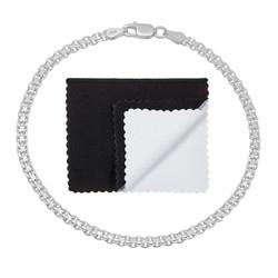 3mm Solid .925 Sterling Silver Flat Bismark Chain Link Bracelet + Gift Box