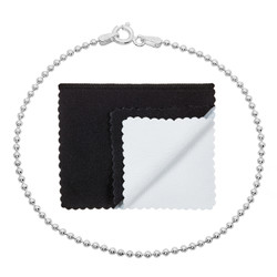 1.5mm Solid .925 Sterling Silver Ball Military Bead Chain Bracelet + Gift Box