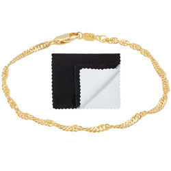 Women's 2.5mm 14k Yellow Gold Plated Twisted Singapore Chain Bracelet + Gift Box