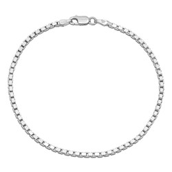 2.3mm Solid .925 Sterling Silver Square Box Chain Bracelet + Gift Box