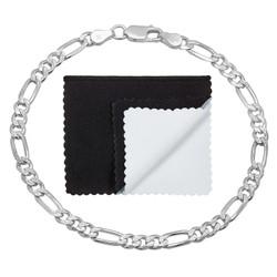 4.7mm .925 Sterling Silver Diamond-Cut Flat Figaro Chain Bracelet + Gift Box