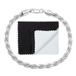 4.8mm .925 Sterling Silver Diamond-Cut Twisted Rope Chain Bracelet + Gift Box