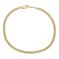 2.2mm 14k Yellow Gold Plated Flat Curb Chain Bracelet