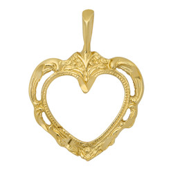 Gold Plated Intricate Filigree Open Heart Shaped Pendant + Microfiber