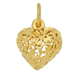 Gold Plated Ornate Filigree Rounded Heart Shaped Pendant + Microfiber