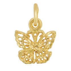 Petite Gold Plated Butterfly Pendant w/Open Woven Design + Microfiber
