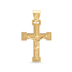 Large 32mm x 46mm 14k Gold Plated Milgrain Bordered Crucifix Pendant + Microfiber