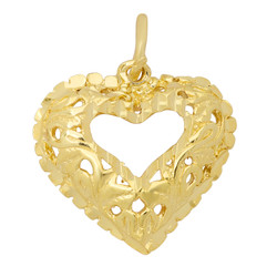 Gold Plated Ornate Filigree Rounded Open Heart Shaped Pendant + Microfiber