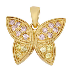 Gold Plated Butterfly Pendant Accented w/Pink & Yellow CZs + Microfiber