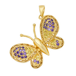 Gold Plated Filigree Butterfly w/Violet & Yellow CZs Pendant + Microfiber
