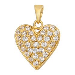 Gold Plated Heart Shaped Pendant w/Round Brilliant Pave CZs + Microfiber