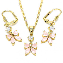 Gold Plated Pink CZ Butterfly Dangling Drop Mariner Link Pendant Necklace Lever Back Earring Set
