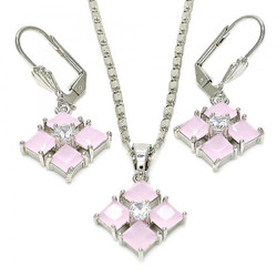 Rhodium Plated Pink CZ Diamond Dangling Drop Mariner Link Pendant Necklace Lever Back Earring Set