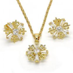 Gold Plated Clear CZ Fleur-De-Lis Saint Lily Mariner Link Pendant Necklace Stud Earring Set