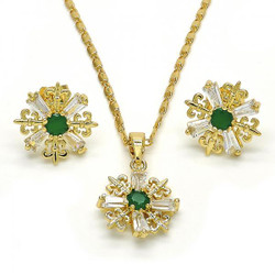Gold Plated Green CZ Fleur-De-Lis Saint Lily Mariner Link Pendant Necklace Stud Earring Set