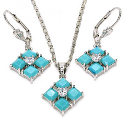 """Women's 0.25 mils Rhodium Plated Silver CZ Pendant + Mariner Chain Necklace Set, 18"""" + Jewelry Cloth"""