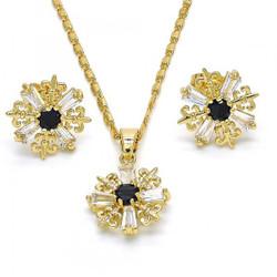 Gold Plated Black CZ Fleur-De-Lis Saint Lily Mariner Link Pendant Necklace Stud Earring Set