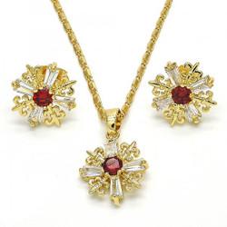 Gold Plated Garnet CZ Fleur-De-Lis Saint Lily Mariner Link Pendant Necklace Stud Earring Set