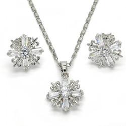 Rhodium Plated Clear CZ Fleur-De-Lis Saint Lily Mariner Link Pendant Necklace Stud Earring Set