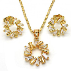 Gold Plated Clear Cubic Zirconia Round Mariner Link Pendant Necklace Stud Earring Set