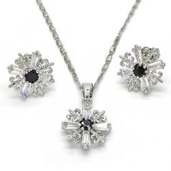 Rhodium Plated Black CZ Fleur-De-Lis Saint Lily Mariner Link Pendant Necklace Stud Earring Set