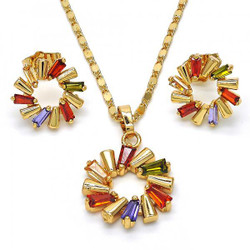Gold Plated Multicolor Cubic Zirconia Round Mariner Link Pendant Necklace Stud Earring Set