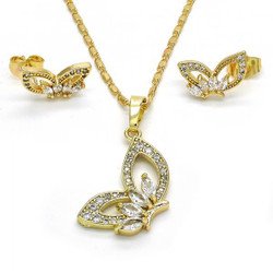 Gold Plated Clear Cubic Zirconia Butterfly Mariner Link Pendant Necklace Stud Earring Set