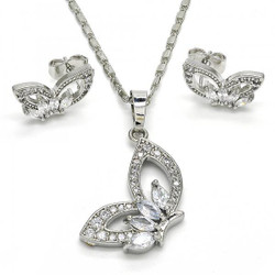 Rhodium Plated Clear Cubic Zirconia Butterfly Mariner Link Pendant Necklace Stud Earring Set
