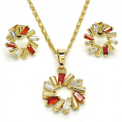 Gold Plated Garnet Cubic Zirconia Round Mariner Link Pendant Necklace Stud Earring Set