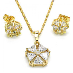 Gold Plated Clear Cubic Zirconia Flower Mariner Link Pendant Necklace Stud Earring Set