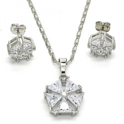 Rhodium Plated Clear Cubic Zirconia Flower Mariner Link Pendant Necklace Stud Earring Set
