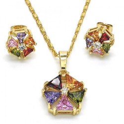 Gold Plated Multicolor Cubic Zirconia Flower Mariner Link Pendant Necklace Stud Earring Set