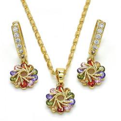 Gold Plated Multicolor CZ Flower Dangling Drop Mariner Link Pendant Necklace Lever Back Earring Set
