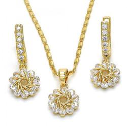 Gold Plated Clear CZ Flower Dangling Drop Mariner Link Pendant Necklace Lever Back Earring Set