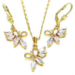 Gold Plated Clear CZ Fancy Dangling Drop Mariner Link Pendant Necklace Lever Back Earring Set