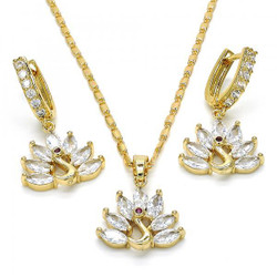 Gold Plated Clear CZ Peacock Dangling Drop Mariner Link Pendant Necklace Lever Back Earring Set