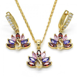 Gold Plated Multicolor CZ Peacock Dangling Drop Mariner Link Pendant Necklace Lever Back Earring Set