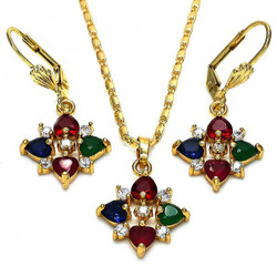 Gold Plated Multicolor CZ Heart Dangling Drop Mariner Link Pendant Necklace Lever Back Earring Set