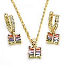 Gold Plated Multicolor CZ Square Dangling Drop Mariner Link Pendant Necklace Lever Back Earring Set