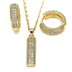 Gold Plated Clear Cubic Zirconia Bar Hoop Mariner Link Pendant Necklace Lever Back Earring Set