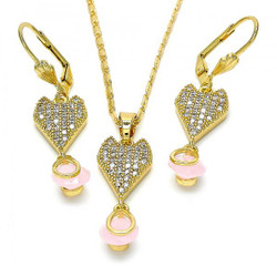 Gold Plated Pink CZ Heart Tear Drop Dangling Mariner Link Pendant Necklace Lever Back Earring Set